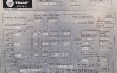 TRANE – RTAC250 – 250 Ton Air Cooled Chiller