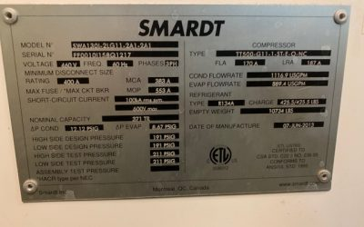 SMARDT – 370 Ton Water Cooled Chiller