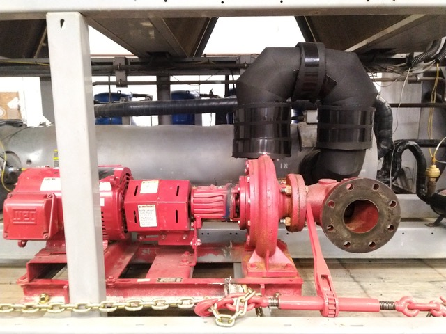 used Bell & Gossett 10HP pump installed in a 90 ton Carrier air cooled chiller