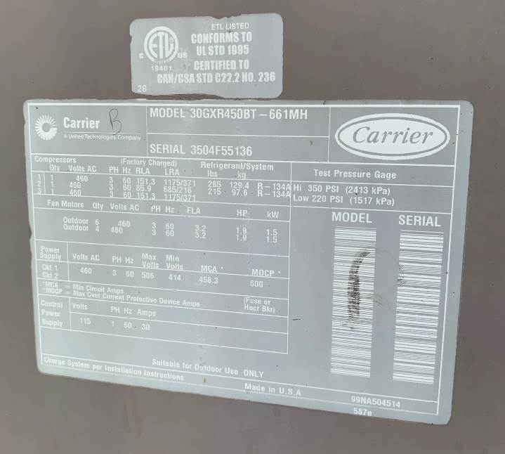 CARRIER – Used 225 Ton Air Cooled Chiller Modules